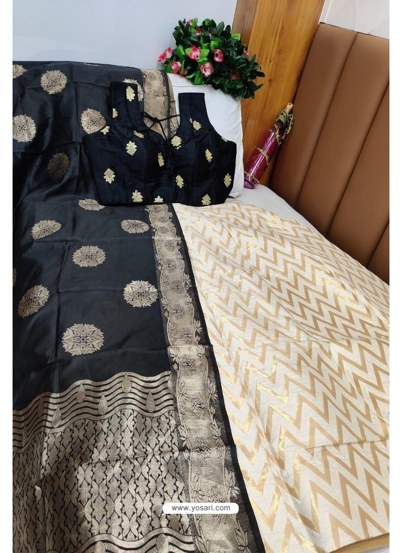 Black And Off White Banarasi Silk Lehenga Choli