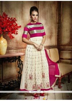 Mystic Resham Work Cream And Hot Pink Anarkali Salwar Kameez