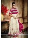 Mystic Resham Work Cream And Hot Pink Anarkali Salwar Kameez