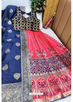 Navy And Rani Banarasi Silk Lehenga Choli