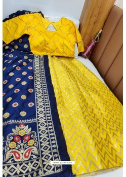 Pretty Yellow Banarasi Silk Lehenga Choli