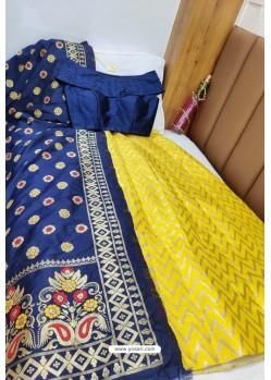 Navy And Yellow Banarasi Silk Lehenga Choli