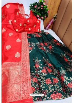 Red And Dark Green Banarasi Silk Lehenga Choli