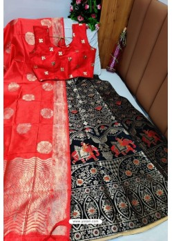 Red And Black Banarasi Silk Lehenga Choli