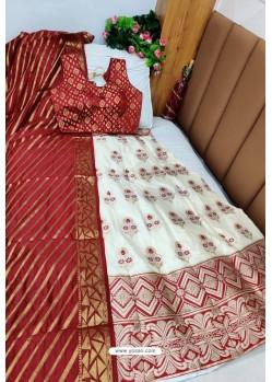 Maroon And White Banarasi Silk Lehenga Choli