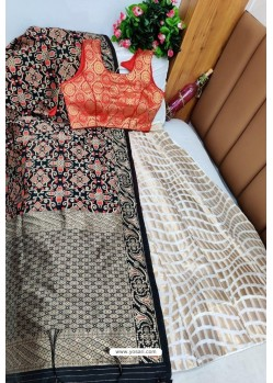 Red And White Banarasi Silk Lehenga Choli