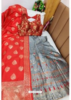 Red And Grey Banarasi Silk Lehenga Choli