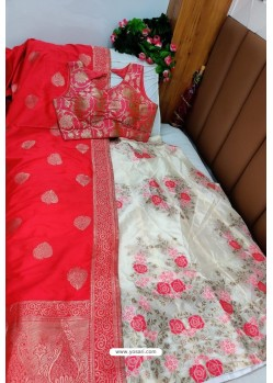 Amazing Red And Cream Banarasi Silk Lehenga Choli