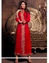 Radiant Red Zari Velvet Churidar Suit