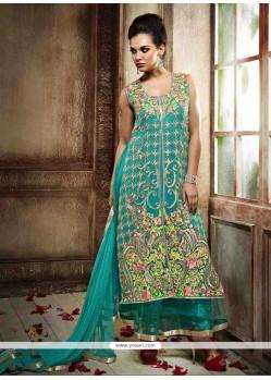 Adorable Georgette Turquoise Resham Work Anarkali Salwar Kameez