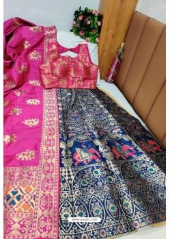 Rani And Navy Banarasi Silk Lehenga Choli