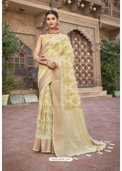Cream Designer Wear Cotton Silk Saree