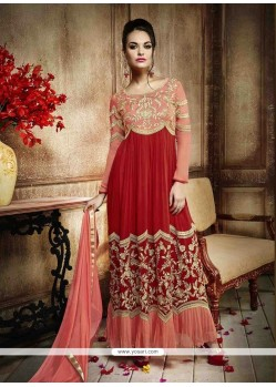 Whimsical Red Georgette Anarkali Salwar Kameez