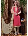Alluring Jacquard Pink Churidar Designer Suit