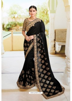 Black Pure Dola Silk Designer Saree