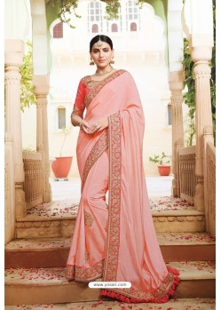 Pink Pure Dola Silk Designer Saree