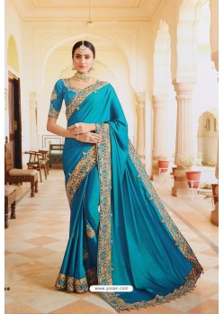 Blue Sana Silk Designer Saree