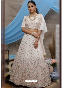 White Georgette Embroidered Designer Lehenga Choli