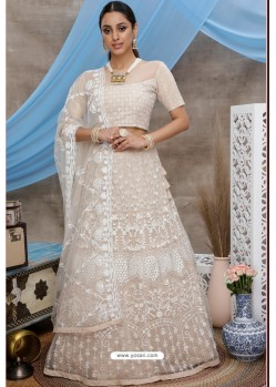 Light Beige Net Embroidered Designer Lehenga Choli