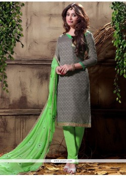 Superb Embroidered Work Cotton Grey Churidar Designer Suit