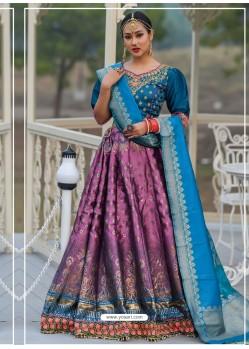 Violet And Blue Designer Banarasi Silk Lehenga Choli