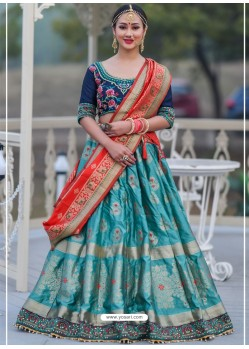 Turquoise And Blue Designer Banarasi Silk Lehenga Choli