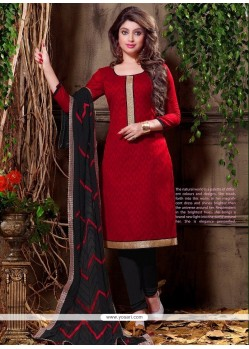 Demure Embroidered Work Cotton Churidar Designer Suit
