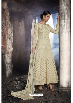 Cream Heavy Designer Georgette Anarkali Suit