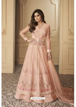 Peach Butterfly Net Heavy Designer Anarkali Suit