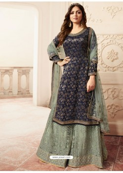 Navy And Sky Jacquard Embroidered Heavy Designer Suit