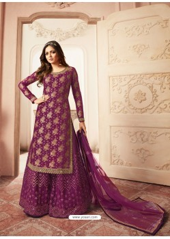 Purple Jacquard Embroidered Heavy Designer Suit