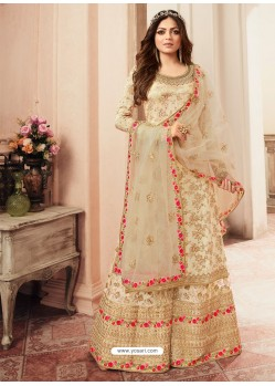 Cream Jacquard Embroidered Heavy Designer Suit