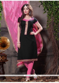 Black Jacquard Churidar Designer Suit