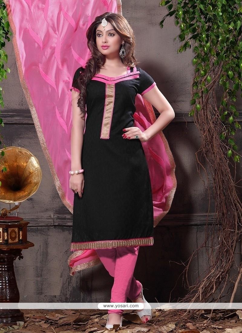 Shop Online Black Jacquard Churidar Designer Suit