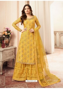 Yellow Jacquard Embroidered Heavy Designer Suit