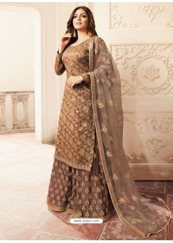 Beige Jacquard Embroidered Heavy Designer Suit