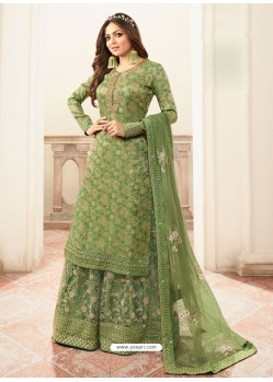 Green Jacquard Embroidered Heavy Designer Suit