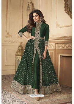 Dark Green Designer Real Georgette Designer Indo Western Suit