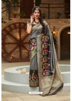 Grey And Black Designer Classic Wear Silk Saree