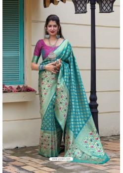 Turquoise Designer Classic Wear Silk Saree