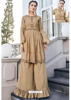 Beige Pure Heavy Chinon Party Wear Palazzo Suit