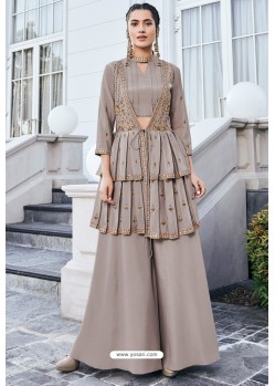 Light Brown Pure Heavy Chinon Party Wear Palazzo Suit