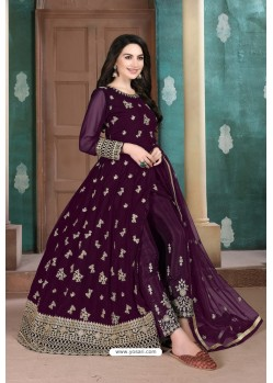 Purple Faux Georgette Party Wear Floor Length Suit