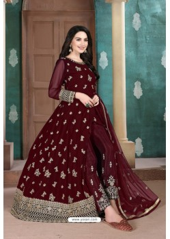 Maroon Faux Georgette Party Wear Floor Length Suit