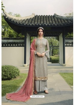 Grey Pure Viscose Chinon Party Wear Palazzo Suit