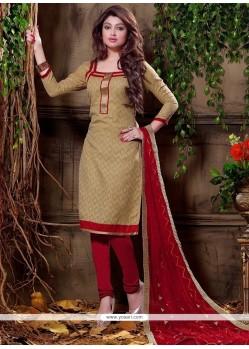 Beige Jacquard Churidar Designer Suit