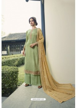 Green Pure Viscose Chinon Party Wear Palazzo Suit