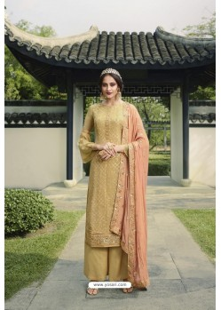 Cream Pure Viscose Chinon Party Wear Palazzo Suit