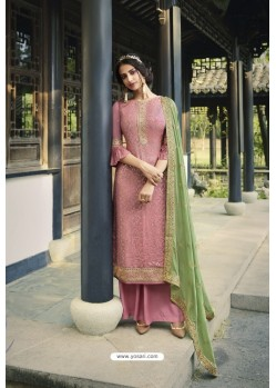 Pink Pure Viscose Chinon Party Wear Palazzo Suit