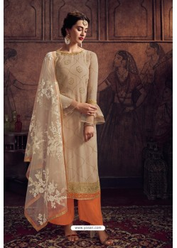 Beige And Orange Rangoli Georgette Designer Palazzo Suit